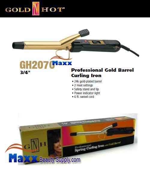Gold N Hot #GH2070 Gold Barrel Spring Curling Iron - 3/4""