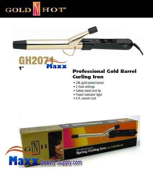 Gold N Hot #GH2071 Gold Barrel Spring Curling Iron - 1""