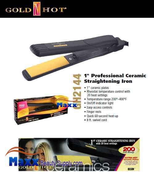 Gold N Hot #GH2144 Ceramics Straightening Flat Iron - 1""