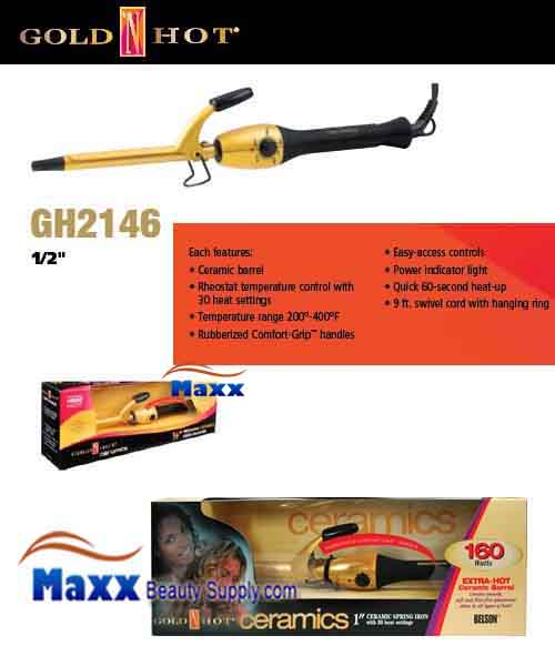 Gold N Hot #GH2146 Ceramic Spring Curling Iron - 1/2""