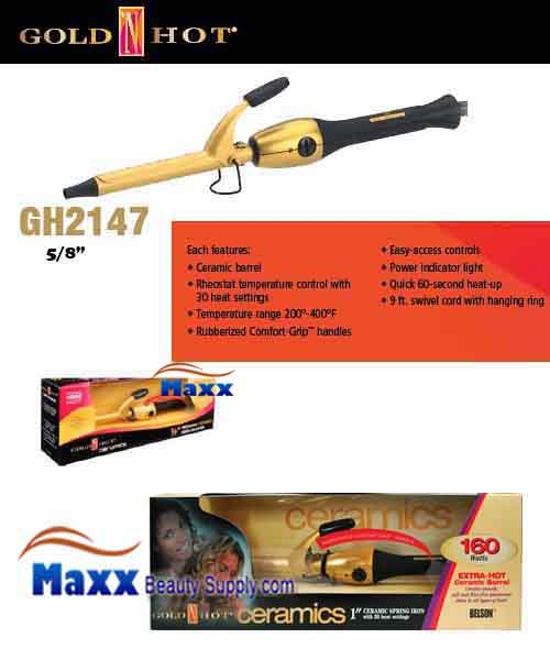Gold N Hot #GH2147 Ceramic Spring Curling Iron - 5/8""