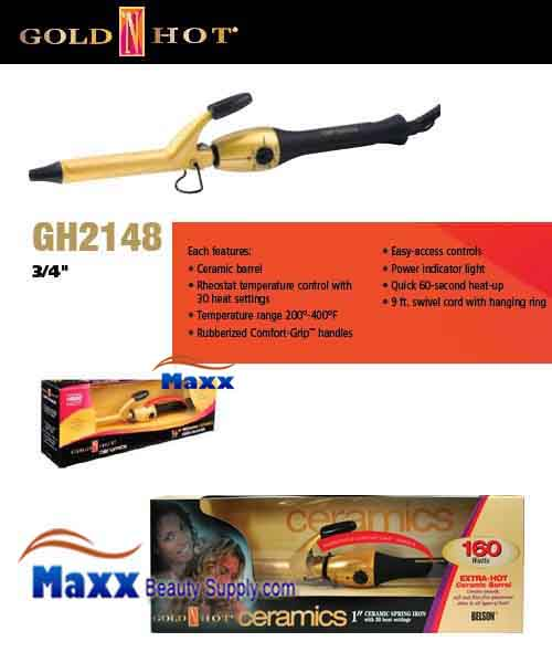 Gold N Hot #GH2148 Ceramic Spring Curling Iron - 3/4""