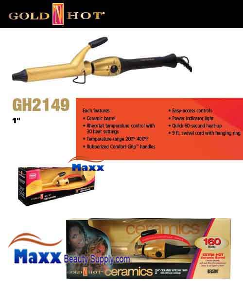 Gold N Hot #GH2149 Ceramic Spring Curling Iron - 1""