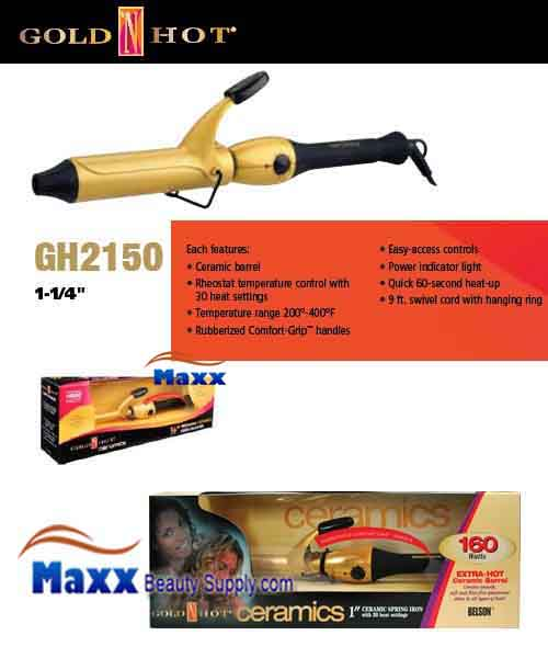 Gold N Hot #GH2150 Ceramic Spring Curling Iron - 1 1/4""