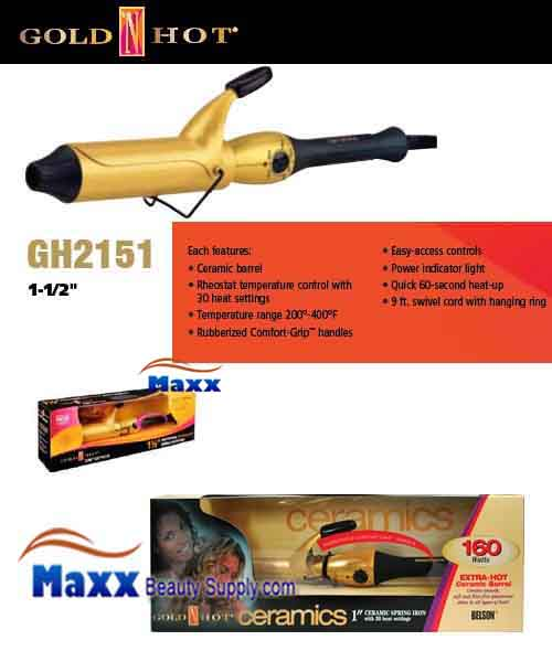 Gold N Hot #GH2151 Ceramic Spring Curling Iron - 1 1/2""