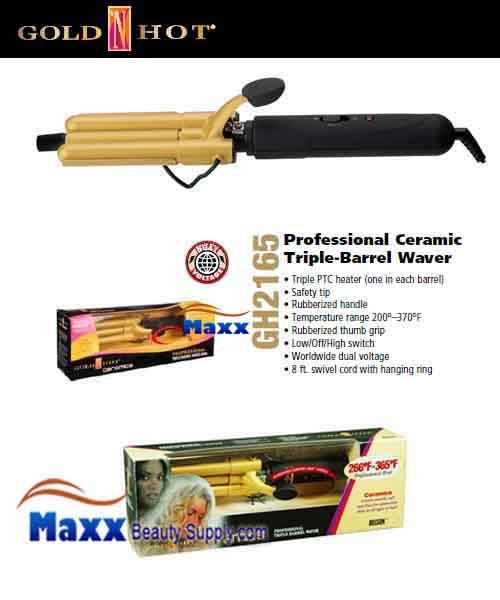 Gold N Hot #GH2165 Ceramic Triple Barrel Waver Iron