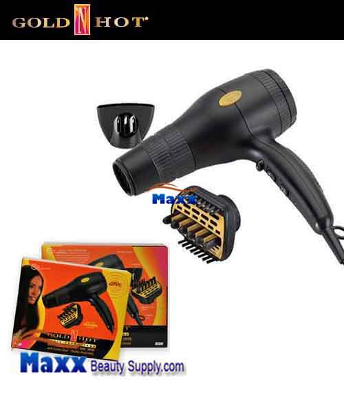 Gold N Hot #GH2240 1875W Ionic Hair Dryer with Duetto Styler Ceramic Attachment