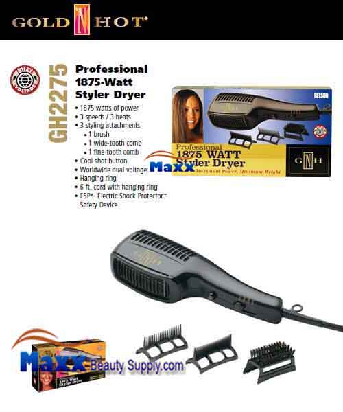 Gold N Hot #GH2275 1875W Styler Hair Dryer with Comb Attachments