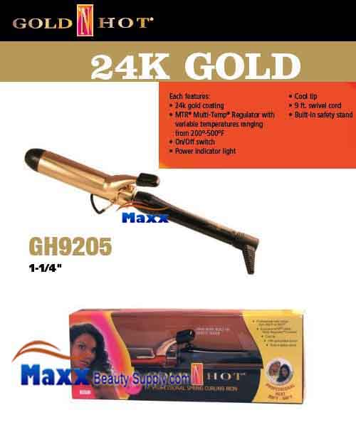Gold N Hot 24K Gold Coated #GH9205 Spring Curling Iron - 1 1/4""