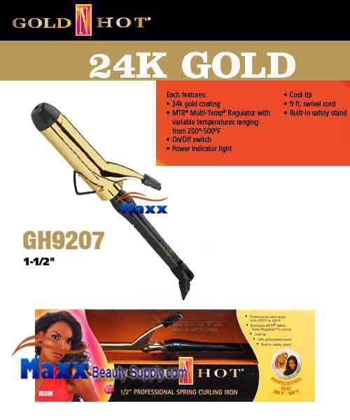 Gold N Hot 24K Gold Coated #GH9207 Spring Curling Iron - 1 1/2""