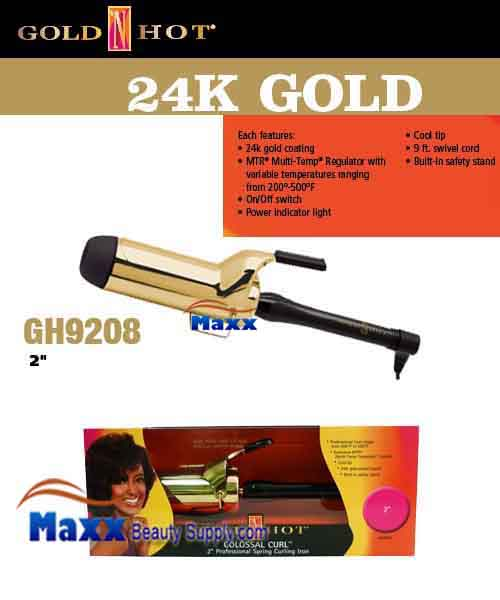 Gold N Hot 24K Gold Coated #GH9208 Spring Curling Iron - 2""