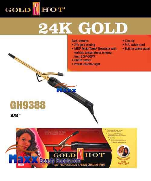 Gold N Hot 24K Gold Coated #GH9388 Spring Curling Iron - 3/8""