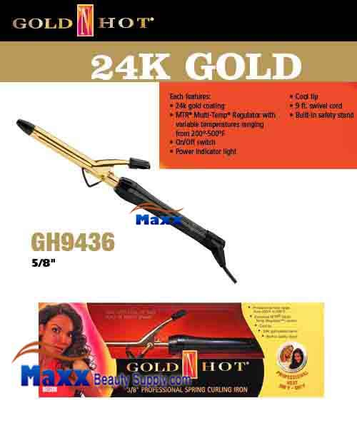 Gold N Hot 24K Gold Coated #GH9436 Spring Curling Iron - 5/8""