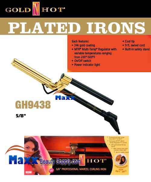 Gold N Hot #GH9438 Gold Plated Ceramic Marcel Iron - 5/8""