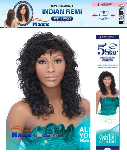 Harlem 125 5 Star Indian Remi Hair Wet & Wavy - Brazilian Curl 5pcs