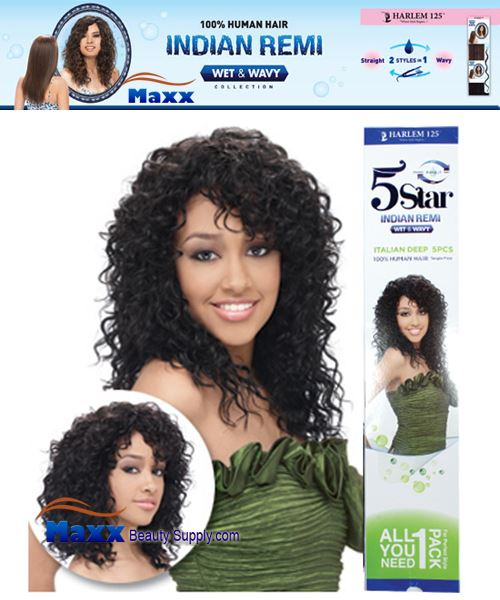Harlem 125 5 Star Indian Remi Hair Wet & Wavy - Italian Deep 5pcs