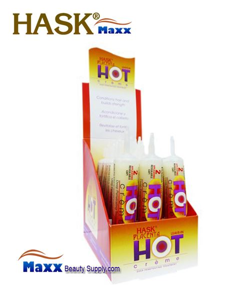 Hask Placenta Hot Creme Leave In Hair Treatment 1oz - 1 Display(12 Tube)