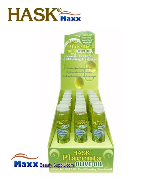 Hask Placenta Plus Olive Oil Leave-In Instant Conditioning Treatment 5/8oz - 1 Display(18 Bottle)
