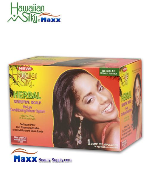Hawaiian Silky Herbal Sensitive Scalp No Lye Relaxer 1 Application Kit - Regular