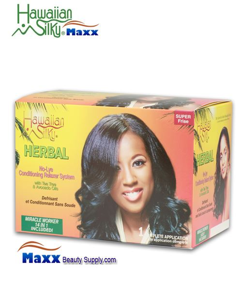 Hawaiian Silky Herbal Sensitive Scalp No Lye Relaxer 1 Application Kit - Super