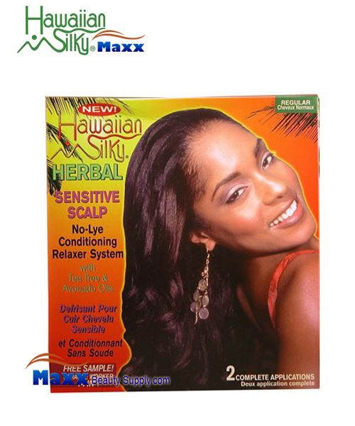 Hawaiian Silky Herbal Sensitive Scalp No Lye Relaxer 2 Application Kit - Regular