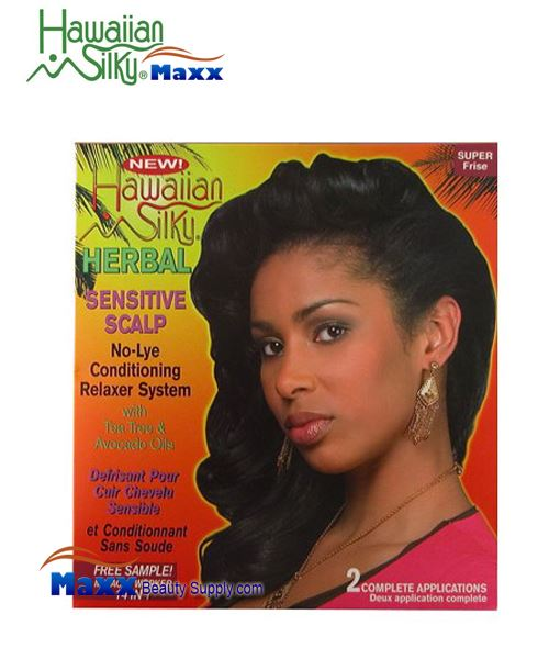 Hawaiian Silky Herbal Sensitive Scalp No Lye Relaxer 2 Application Kit - Super