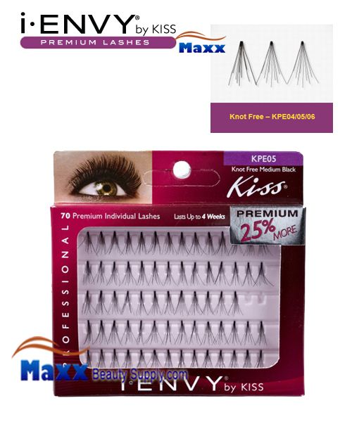 Kiss i Envy Individual Eyelashes - KPE05 - Knot Free Medium Black