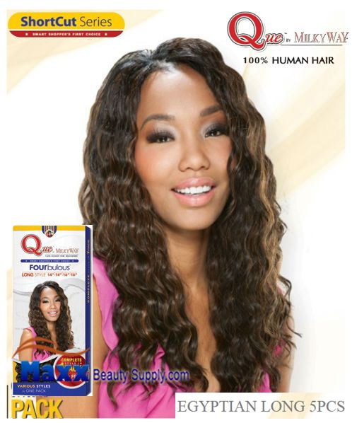 MilkyWay Que Human Hair Weave Short Cut Series - Egyptian Long 5pcs