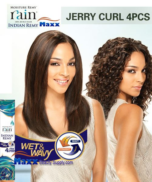Rain Moisture Remy Indian Remy - Jerry Curl 4pcs