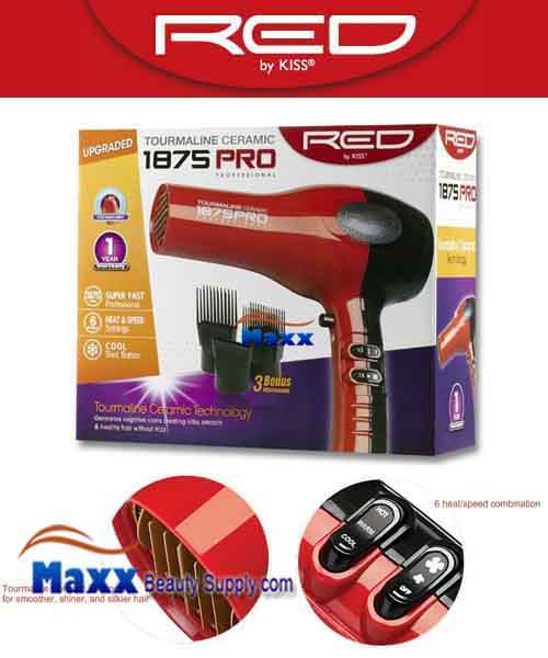 Red by Kiss #BD07 Ceramic 1875W Pro Tourmaline Hair Dryer