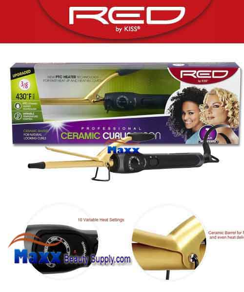 Red by Kiss #C101 Ceramic Curling Iron - 3/8""