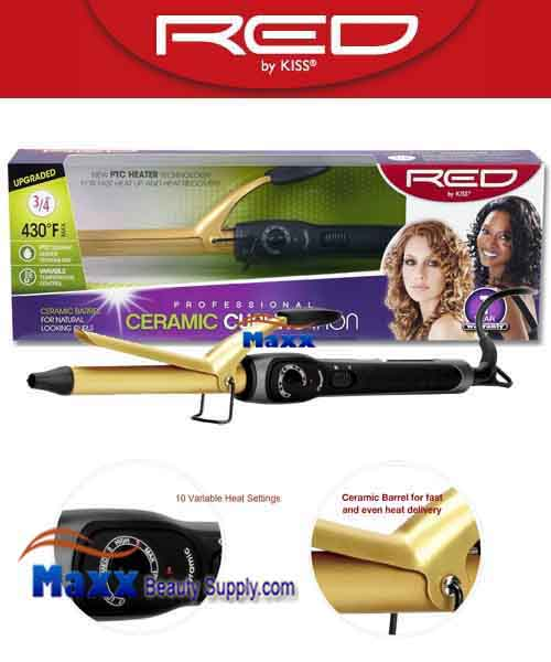 Red by Kiss #C104 Ceramic Curling Iron - 3/4""