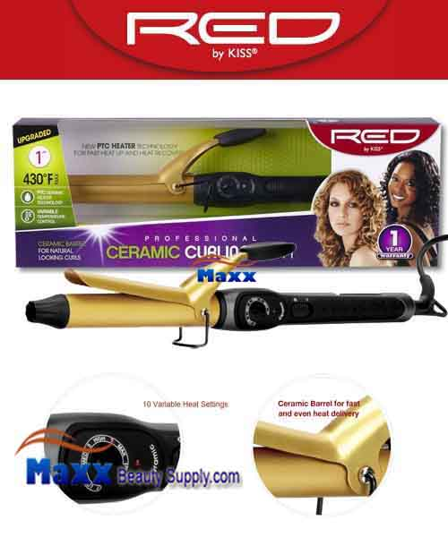 Red by Kiss #C105 Ceramic Curling Iron - 1""
