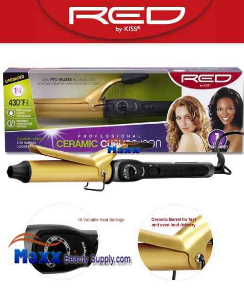 Red by Kiss #C106 Ceramic Curling Iron - 1 1/4""