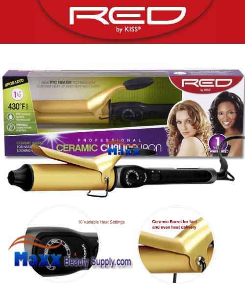 Red by Kiss #C107 Ceramic Curling Iron - 1 1/2""