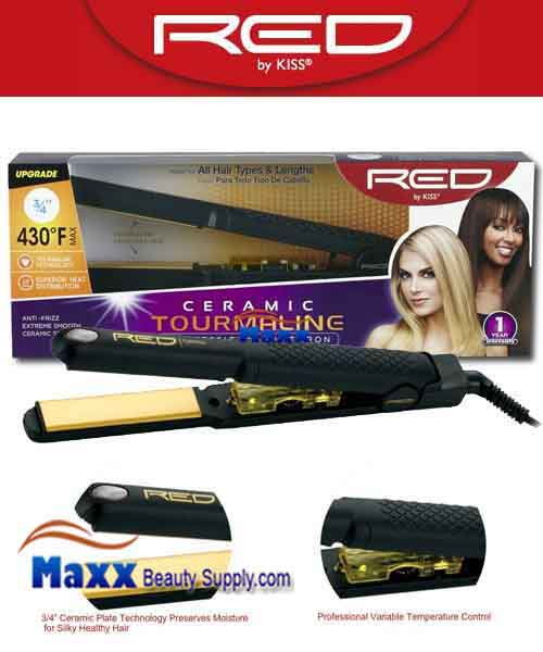 Red by Kiss #FI075 Ceramic Tourmaline Flat Iron - 3/4""
