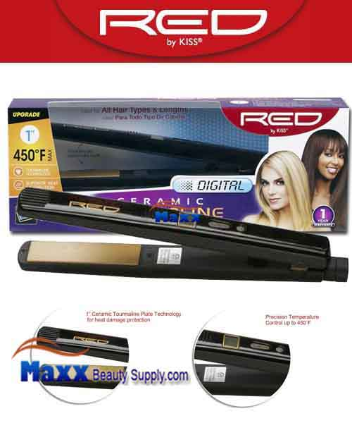 Red by Kiss #FID100 Digital Ceramic Tourmaline Flat Iron - 1""