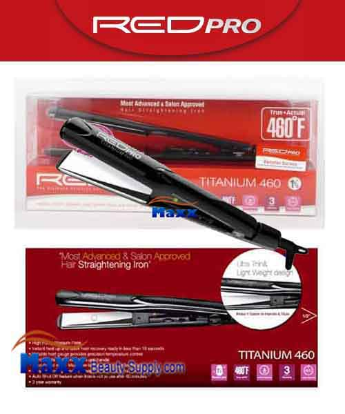Red Pro by Kiss #FIP150 Titanium 460 Hair Straightening Flat Iron - 1 1/2""
