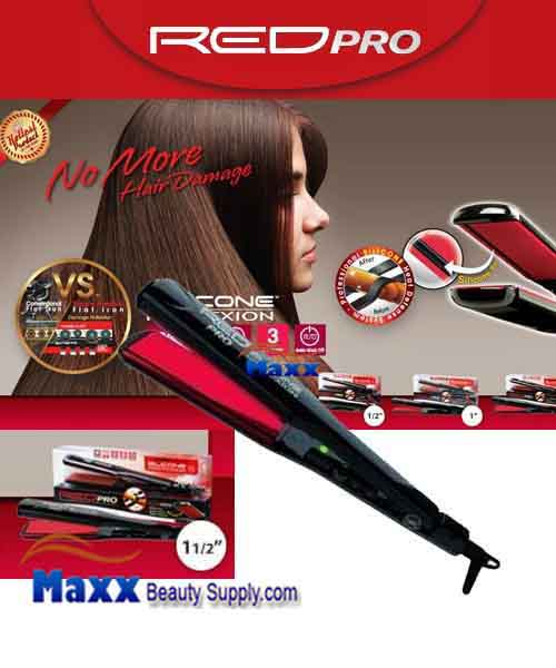 Red Pro by Kiss #FIPS15 Silicone Protexion Hair Straightening Flat Iron - 1 1/2""