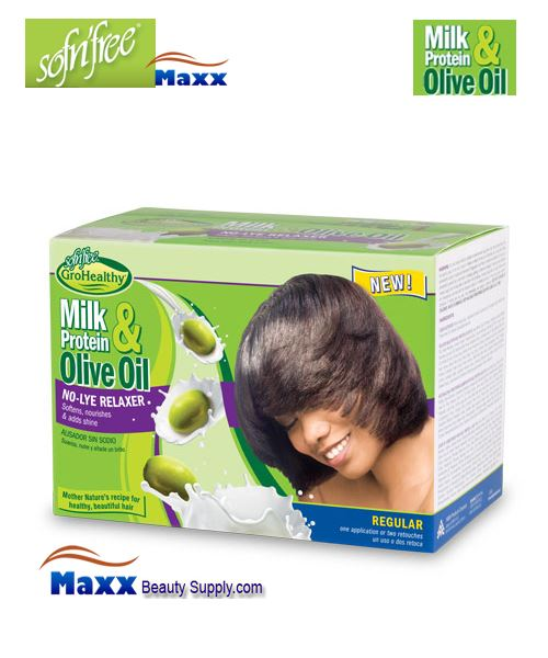 Sofn'free Milk Protein & Olive Oil No-Lye Relaxer Kit - Regular