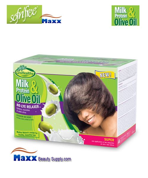 Sofn'free Milk Protein & Olive Oil No-Lye Relaxer Kit - Super