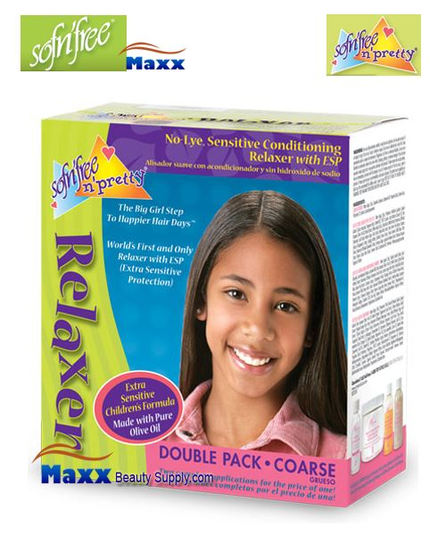 Sofn'Free Pretty No-Lye Relaxer Kit Double Pack - Coarse